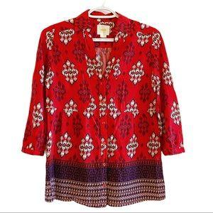 Maeve Anthro woodland walk boho blouse